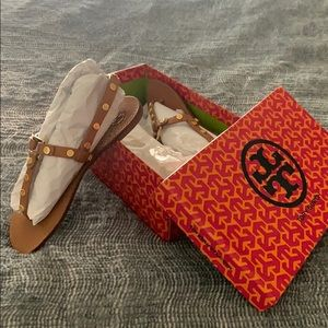 Tory Burch Royal Tan Marge Sandals Size 7.5